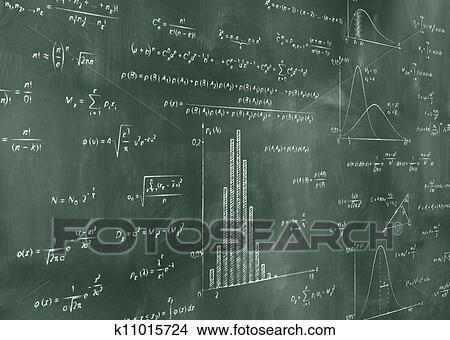 图吧- 数学, 物理学, 公式, 在上, 黑板.图片