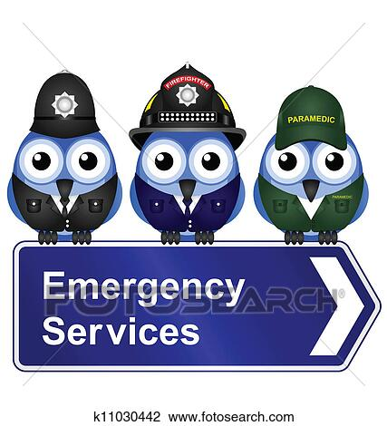 Clipart of Emergency services sign k11030442 - Search Clip ...