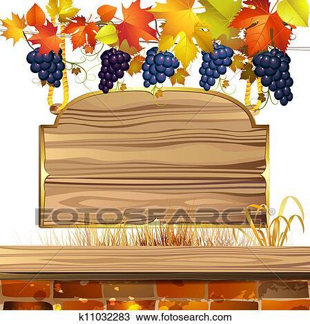 clipart bois banni re raisins k11032283. Black Bedroom Furniture Sets. Home Design Ideas