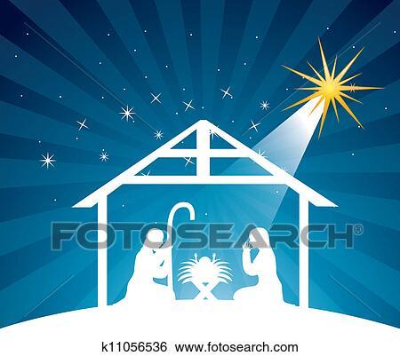 Clipart of Traditional Christian Christmas Nativity Scene k5951654 ...