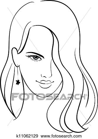 Clip Art Of Girl Face With Beautiful Hair K11062129 - Search Clipart Illustration Posters ...