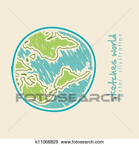 Clip Art of sketch illustration of planet earth k11068829 - Search ...