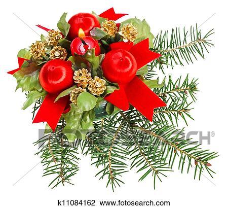 stock foto weihnachten kugeln rot b nder und kerze. Black Bedroom Furniture Sets. Home Design Ideas