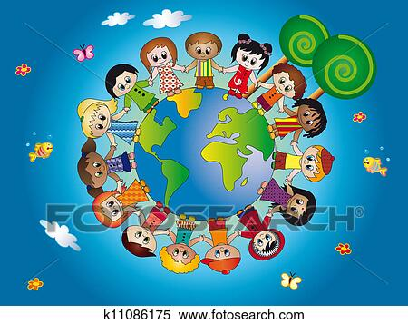 Stock illustration of children world k11086175 search for Environmental graphics giant world map wall mural