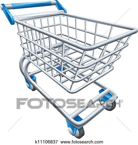 Clip Art of Supermarket shopping cart trolley k11106837 ...