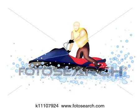 Dessins jet bateau homme quitation a jet ski sur k11107924 recherche de clip arts - Jet ski dessin ...