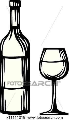 clip art flasche wein und glas k11111218 suche. Black Bedroom Furniture Sets. Home Design Ideas