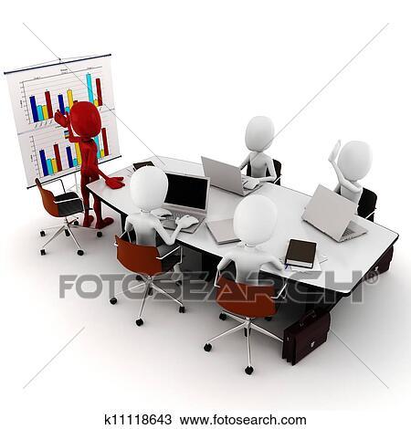 Dessin 3d homme r union affaires k11118643 for Table 3d dessin