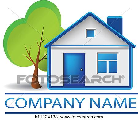 Clip art of real estate house and tree logo k11124138 for Clipart estate