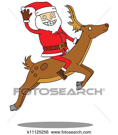 Clip Art of Santa Claus riding his deer k11125256 - Search Clipart ...