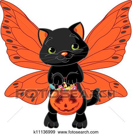 Cute Halloween Cat Clip Art