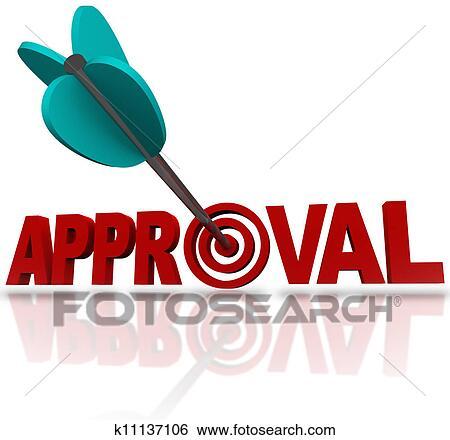 Stock Illustration Of Approval Word Arrow Target Seeking