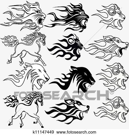 set of graphic tattoos firehorse lion wolf and panther View Large Clip ...