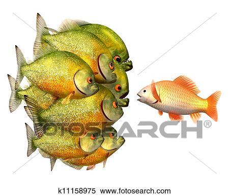 Stock Illustration of Persuasion concept, goldfish and piranhas ...
