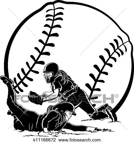 Black and white vector illustration of a runner sliding in home just ...  Softball Clip Art Black And White