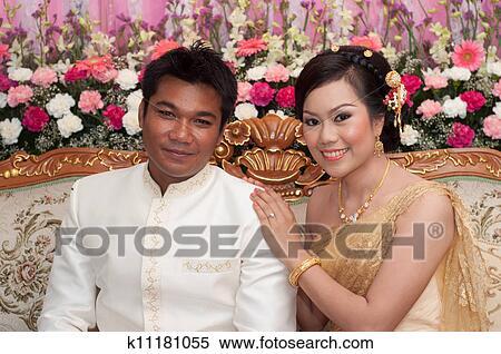 图片银行 - 亚洲人, 泰国人, 夫妇, 新娘, 同时,, 新郎, 在中, 泰国人
