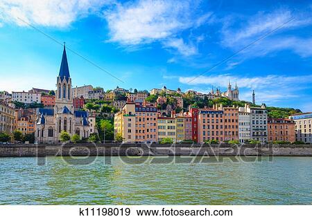 Banque de photographies lyon cityscape depuis saone for Maison et reflet lyon