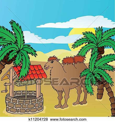 Clipart chameau et puits k11204728 recherchez des - Dessiner un chameau ...