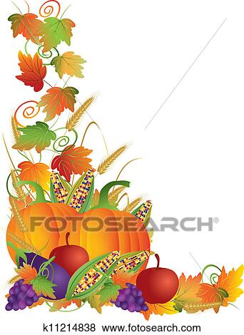 Eggplant grapes corns apples with leaves and twine border illustration