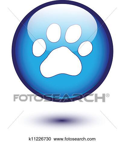 clipart pfote auf blau k11226730 suche clip art