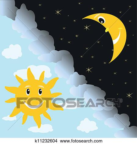 太阳 月亮 平面化