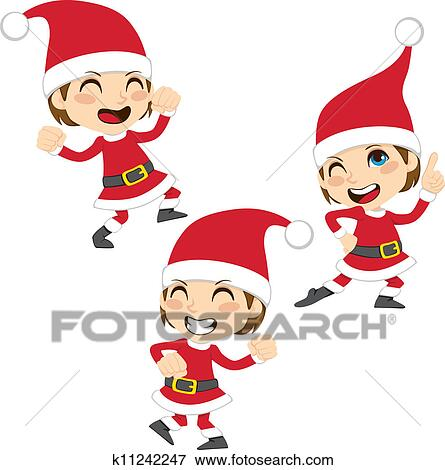 剪贴画 - 圣诞老人, 跳舞