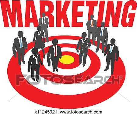 Clipart of Business people team target marketing k11245921 ...