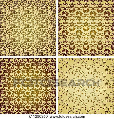 clipart vecteur seamless dor motifs oriental style k11250350 recherchez des clip arts. Black Bedroom Furniture Sets. Home Design Ideas