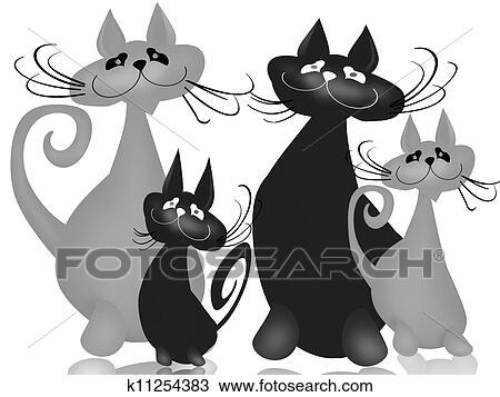 手绘图 - 家庭, 猫图片