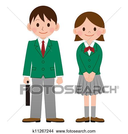 Clip Art Uniform Clipart school uniform clipart and stock illustrations 1053 high student in japan
