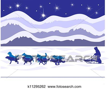 Clipart of Musher and sled dogs by starlight