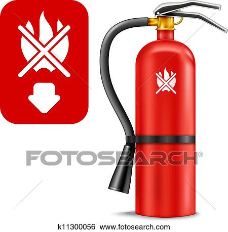 Clip Art of Fire Extinguisher k11300056 - Search Clipart ...