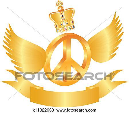 飞行, 和平符号, 带, 王冠宝石, 描述高清图片