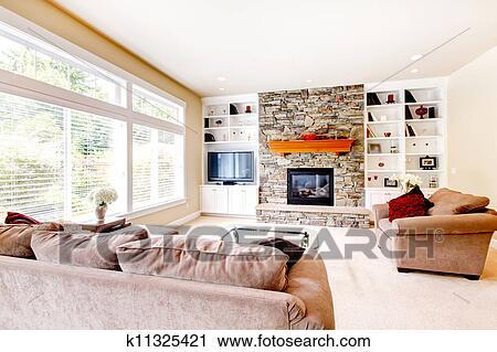 스톡포토 - 큰, 밝은, 거실, 와, 벽난로, 와..., 베이지색, sofas ...