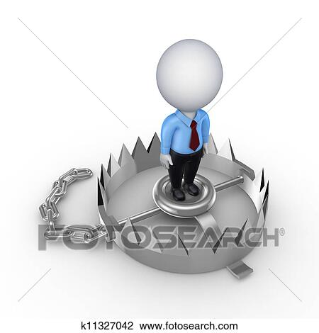 Clip art 3d klein person auf eisen trap k11327042 for Eisen trap