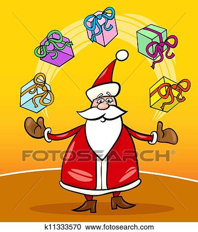 剪贴画 - 圣诞老人, 卡通漫画