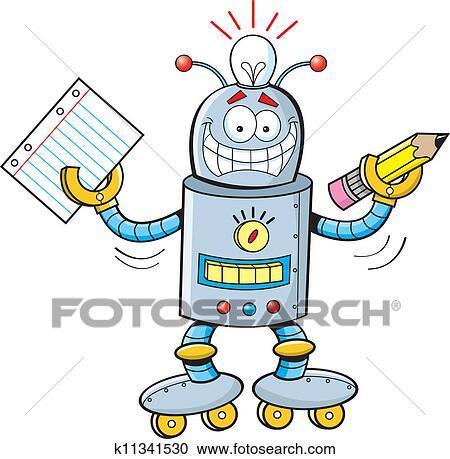 剪贴画 - 卡通漫画, 机器人, 学生图片
