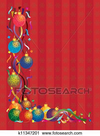 剪贴画 圣诞节装饰物, 带, 带子, 五彩纸屑, 红的背景