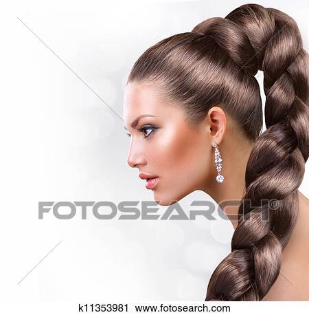 stock fotografie langer gesund hair sch ne frau portr t mit langes braunes haar. Black Bedroom Furniture Sets. Home Design Ideas