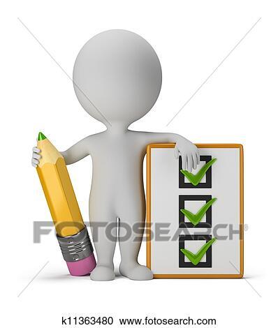 banque d 39 illustrations 3d petit gens presse papiers et crayon k11363480 recherchez. Black Bedroom Furniture Sets. Home Design Ideas