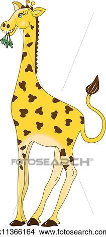 长劲鹿吃树叶简笔画-剪贴画 长颈鹿