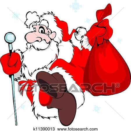 剪贴画 圣诞老人, 带, a, 袋子