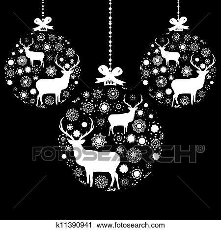 clipart schwarz wei weihnachten ball eps 8 k11390941 suche clip art illustration. Black Bedroom Furniture Sets. Home Design Ideas