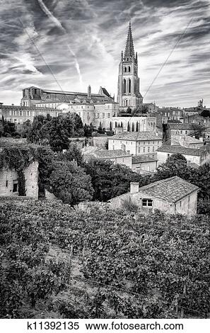 stock image of st emilion village in bordeaux region monochrome k11392135 search stock photos. Black Bedroom Furniture Sets. Home Design Ideas
