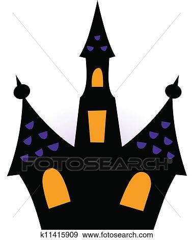 Clipart halloween maison hant e silhouette isol blanc k11415909 recherchez des cliparts - Dessin de maison hantee ...