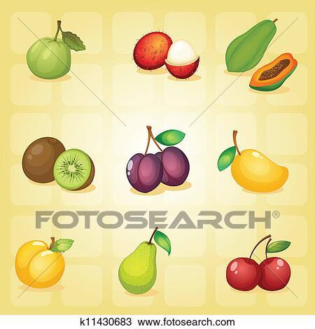 手绘图 各种各样, 水果