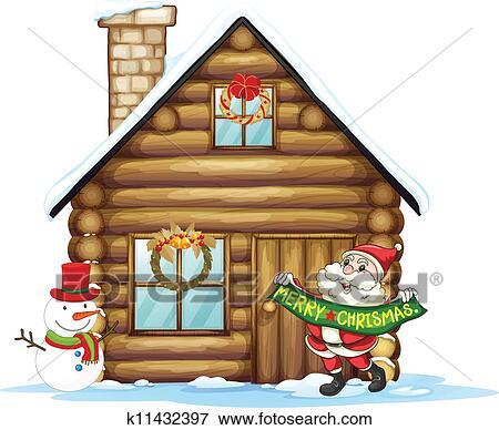 clip art haus und weihnachtsmann k11432397 suche. Black Bedroom Furniture Sets. Home Design Ideas