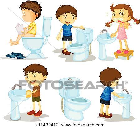 Clipart kinder und badezimmer zubeh rteile k11432413 for Badezimmer clipart