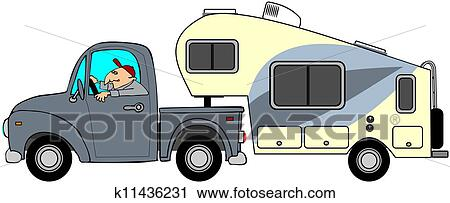 Clipart of Truck and 5th wheel trailer k11436231 - Search Clip Art ...