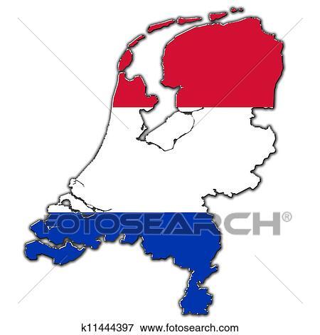 概述, 地图, 在中, netherlands, 覆盖, 在中, 荷兰人旗